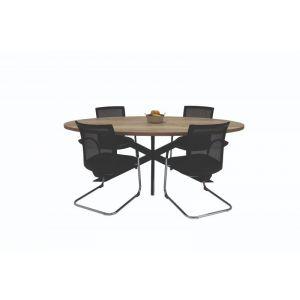 Ovale vergadertafel met stervoet (vtni007)